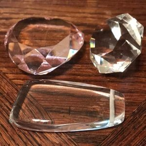 Lot of three crystal/glass paperweights ect